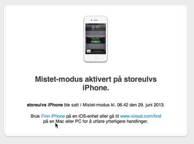 mistet iphone
